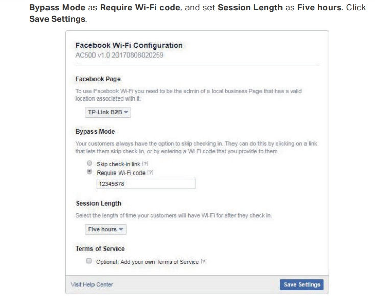 Facebook authentication on EAP-Controller Software: fetching