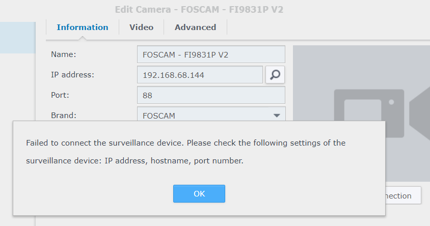 Synology Surveillance Station can't find FOSCAM connected to Deco M9