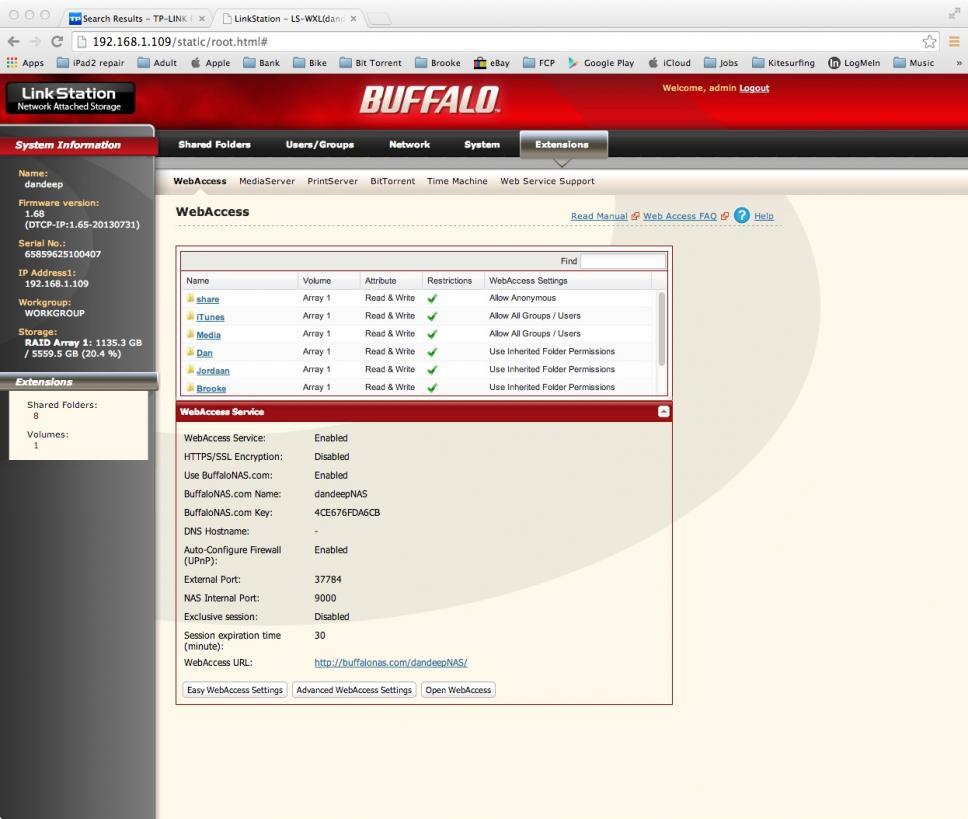Buffalo LinkStation Duo web access issues. Port forwarding