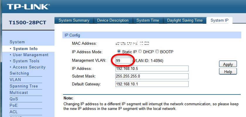 Can´t set Management Vlan - TP-Link SMB Community